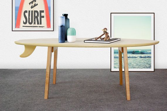 WOOD SURFBOARD COFFEE TABLE -  Inspired by the retro wood surfboards this coffee table is made of white cedar wood (surfboard) and ayous wood (decorative lines and legs). It´s a light and durable piece of furniture designed with eco-friendly materials, FSC wood and water based varnish.  The table is sent with the legs disassembled, you´ll just have to easily screw the legs when received it.  ////////////////////////////////////////////////////////////////////////////// - DIMENSIONS…