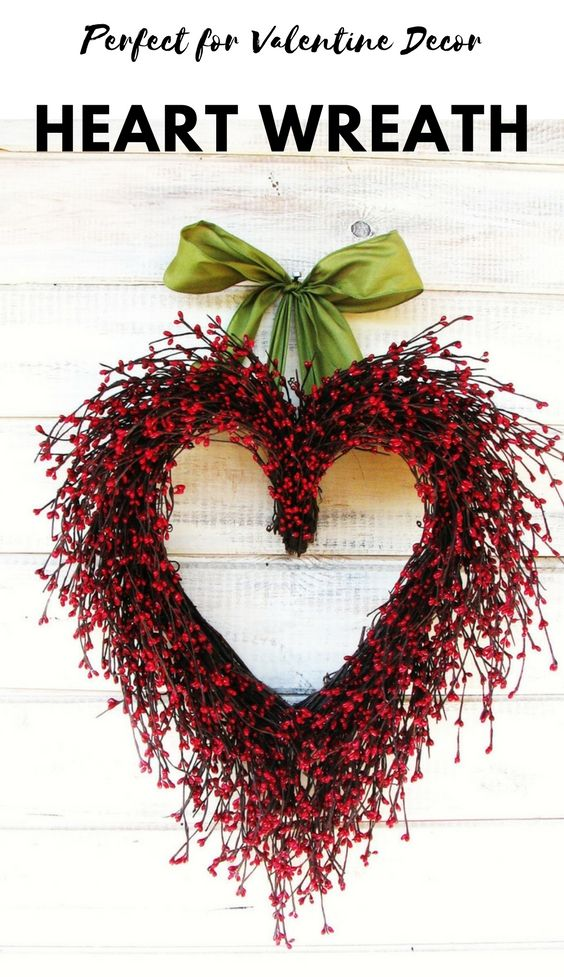 Valentine Wreath-Wedding Decor-Wedding Heart Wreath-Mothers Day Gift-Red Heart Wreath-Weddings-Gift for Mom-Say I LOVE YOU-Wedding Gift, #valentinesday #valentinesdecor #affiliate