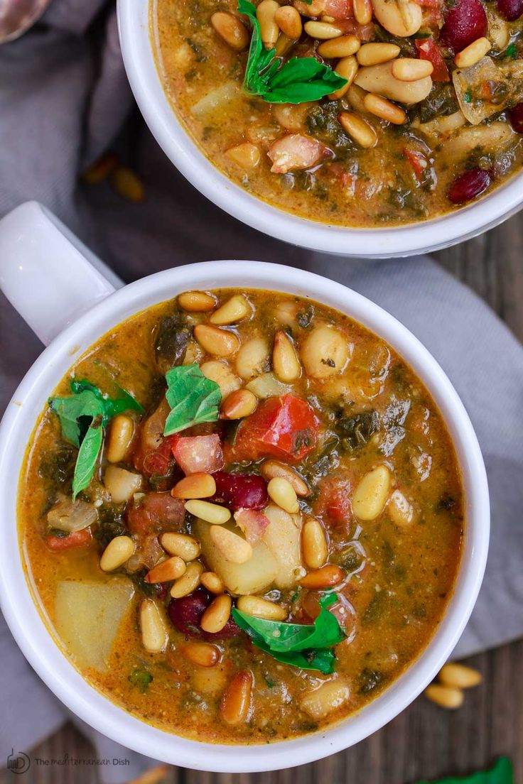 Not your average bean soup recipe! This Mediterranean bean soup with tomato pesto is the kinda warm-your-belly soup with layers of nutrition and tons of flavor. Mediterranean spices, plus a fresh tomato pesto, stirred in at the very end, take this bean soup to a new level of delicious! Vegetarian. Gluten Free.