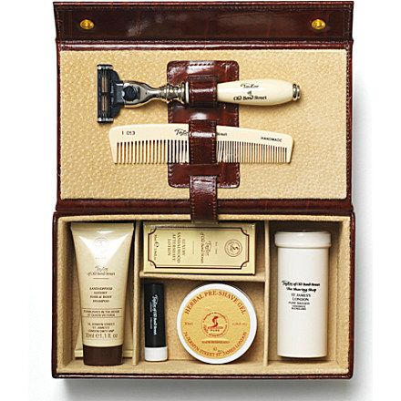 Anniversary gift - TAYLOR OF OLD BOND STREET Grooming box in brown mock-croc leather (Brown
