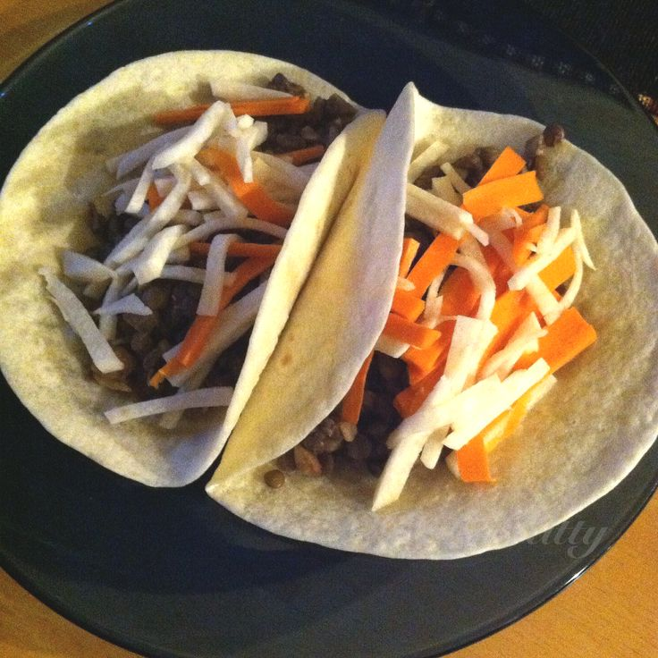 VeganThug Kitchen today: Lentil Tacos with Jicama and Carrot Slaw. #thugkitchen #vegan