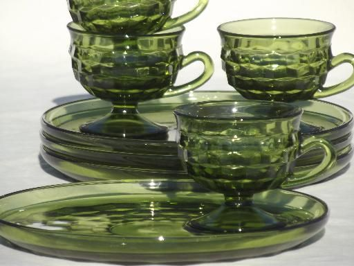 whitehall colony glassware | Whitehall Colony glass cube snack sets cups & plates, retro avocado ...