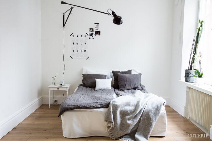 Two friends, one blog driven by a passion for fashion and interior. Join our coterie at www.coterie.fi   #Coterieofficial #Coterie #blog #interior #home #deco #decoration #decor #white #grey #Scandinavian #scandinavianstyle #scandinatiandesign #bedroom #minimalist #walllamp #Flos265 #bed #IKEA #bedsheets #hmhome #bedskirt #Bemz #pillowcases #Bellora1883  #ZaraHome #linensheet #Balmuir #blanket #Klippan #bedsidetable #sidetable #Bukowskismarket #coffeemug #royalcopenhagen