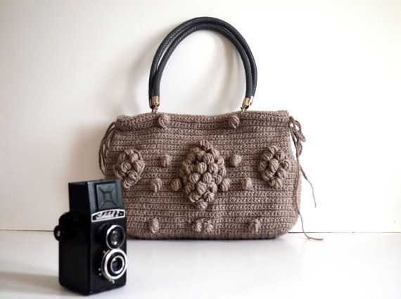 Bag //Handmade Brown  Buff  Knit Bag Celebrity by hibbe on Etsy