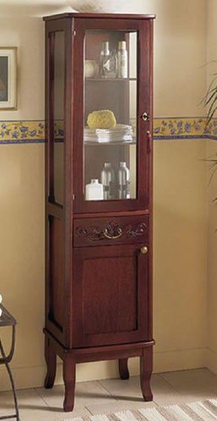 Colonna bagno classica in legno con anta in vetro. Prodotto artigianale italiano