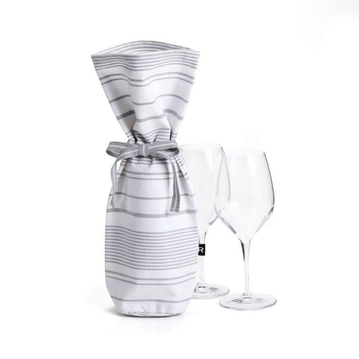 Sac à vin blanc à rayures grises 9.99 $