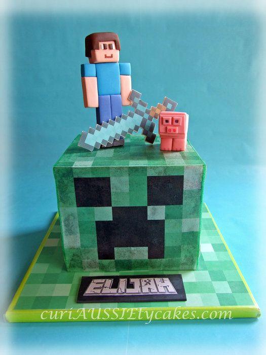 Minecraft creeper cake - by curiAUSSIEtycakes @ CakesDecor.com - cake decorating website