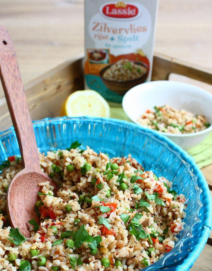 Zilvervliesrijstsalade met tonijn en geroosterde paprika