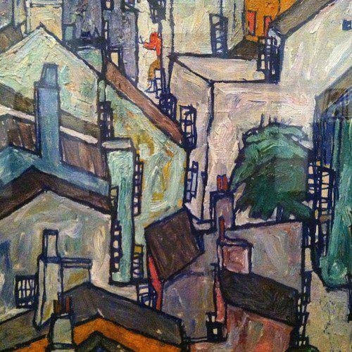 Egon Schiele, Town Among Greenery (The Old City III), 1917