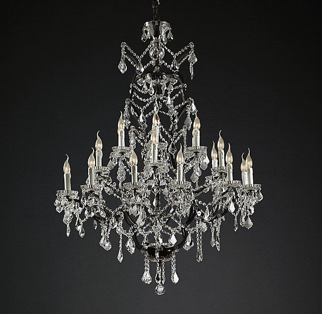 19th C Rococo Iron Crystal Round Chandelier 40 Vintage