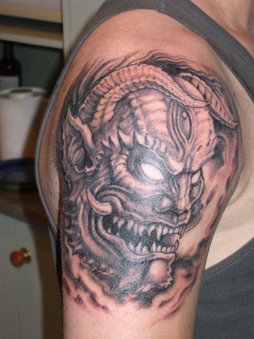 Japanese Demon Mask Tattoo