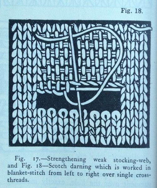 Scotch darning. Uses rows of interconnected blanket stitch over a long weaving style thread.