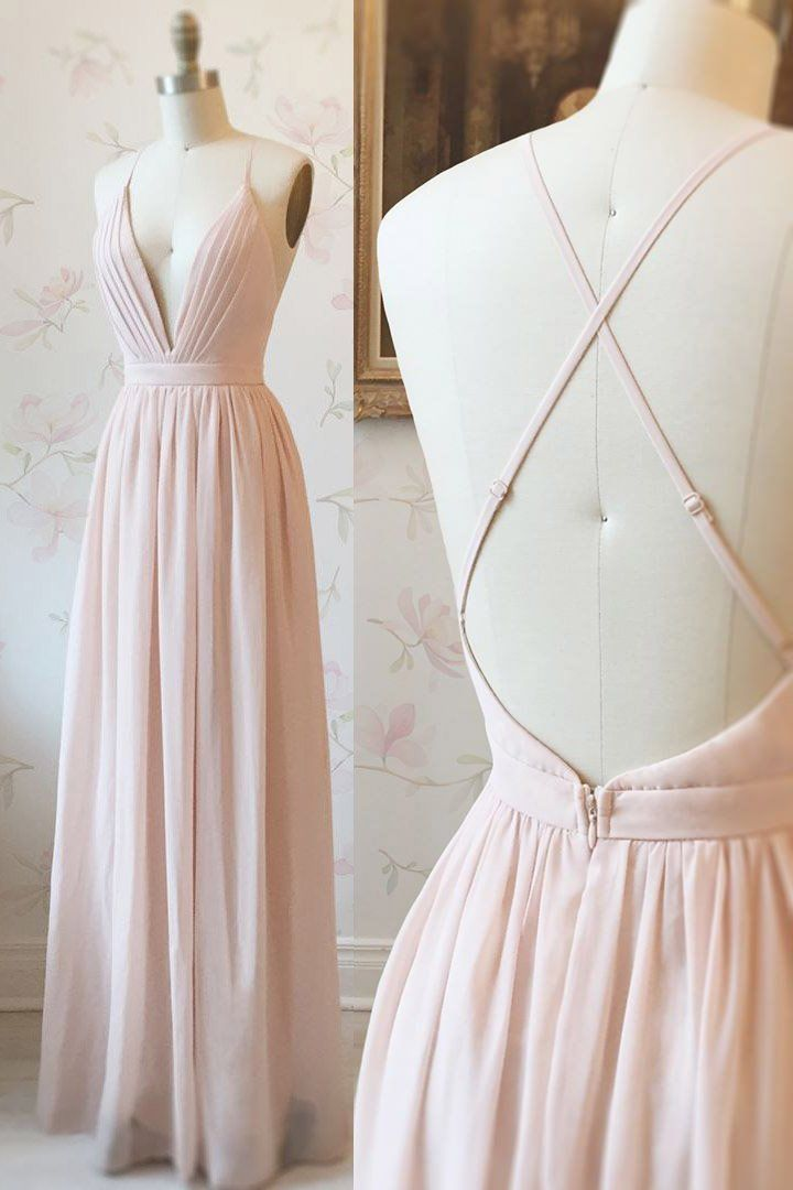 Simple Pink Chiffon Long Prom Dress with Cross Back – #Chiffon #Cross #Dress #Lo…