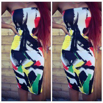 WOMEN VESTIDOS SUMMER STYLE DRESS SEXY PRINT BODYCON BANDAGE DRESSES FEMALE STRAPLESS NIGHTCLUB OUTFITS