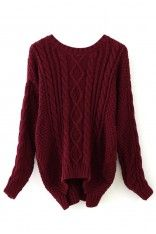 Wine Red Cable Knit Sweater - Long Sleeve - Tops - Retro, Indie and Unique Fashion