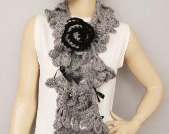 crochet lariat flower scarflariat scarfwhite by SenasShop on Etsy