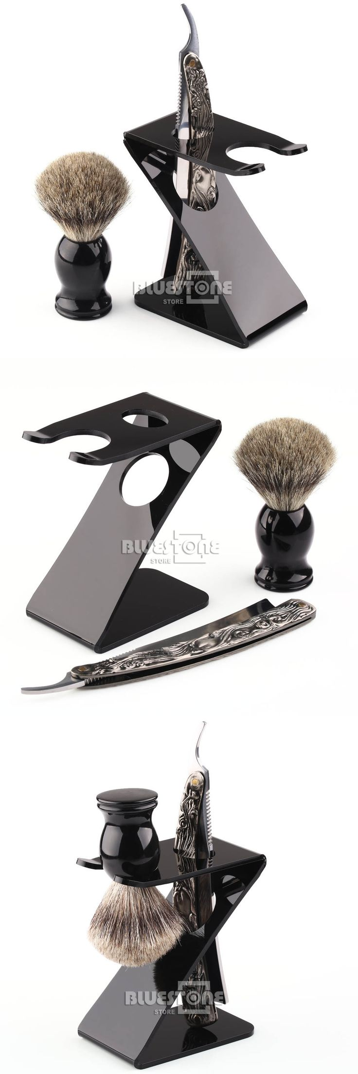 Shaving Brush Stainless Steel Barber Razor Folding Straight Knife Z Stand Brush Holder 3in1 Set Free Shipping