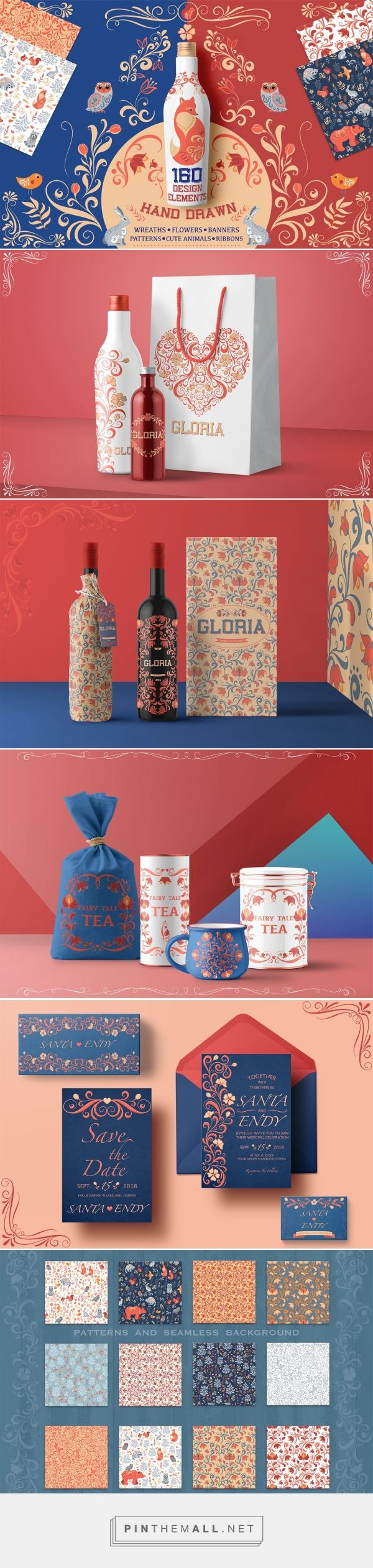 These are simply beautiful. 160+ Hand Drawn Vector Elements by Irina Skaska. Source: Behance. Pin curated by #SFields99. #packaging #design #inspiration #ideas #creative #product #texture #pattern #bottle #bag #tub #jar #stationary # - created via https://pinthemall.net