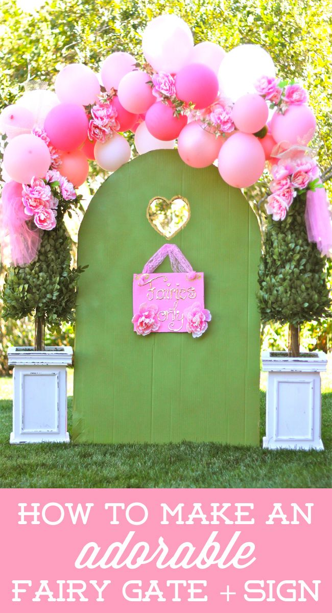 How to make an ADORABLE fairy gate and sign using a cardboard box! on Design Dazzle #fairyparty
