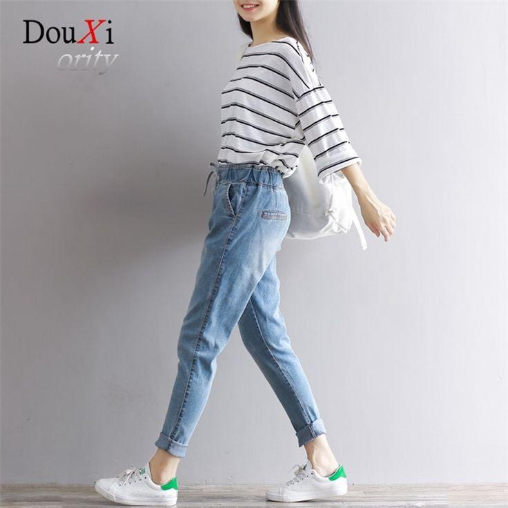 23.32$  Buy here - http://alik6n.shopchina.info/go.php?t=32809436678 - Fashion Summer VintageNew Casual Harlem Jeans Denim Pencil Pants Women Trousers Elastic Waist Drawstring Loose Soft Comfortable  #buyonline