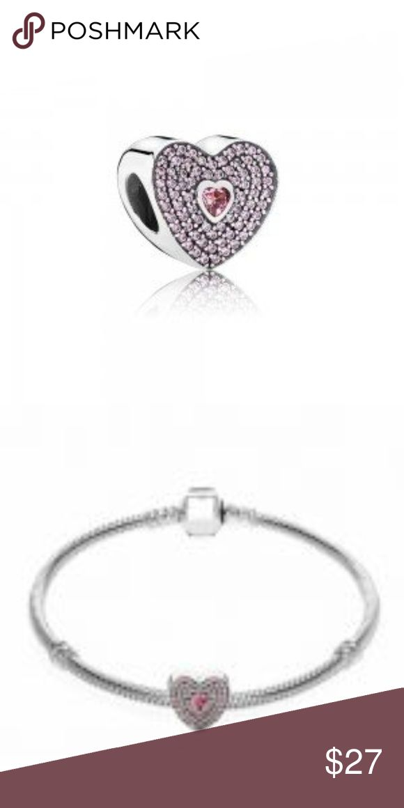 Sterling Silver Sweet Heart Charm This Beautiful And Stunning Forever Charm is sterling silver with Pink Cubic Zirconia stones, This charm is threaded and will fit Pandora jewelry.  CH096 Weight 4.10 Threaded Pink CZ stones Pandora-like Jewelry