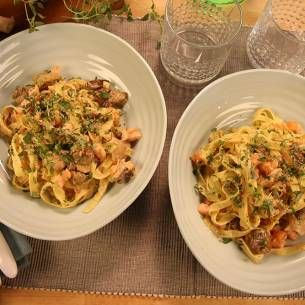 Creamy pasta with salmon,  yummy!