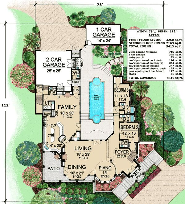 Plan 36143tx mediterranean with central courtyard in 2019 - Mediterranean house floor plan and design ...