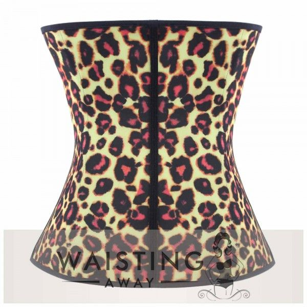 Yellow 4 Steel Bone Leopard Latex Waist Trainer Corset Corset