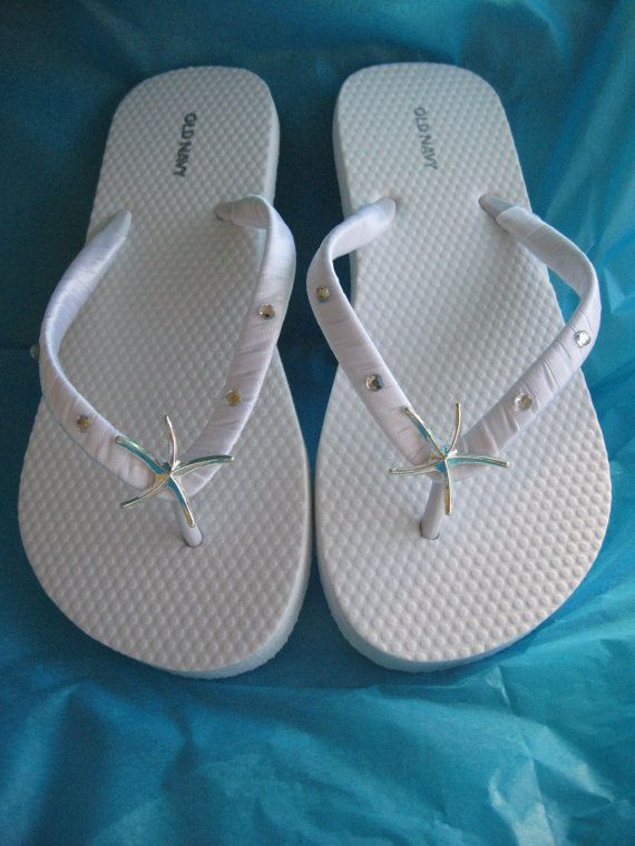 Ivory Flip Flops  White Flip Flops Starfish and by ABiddaBling, $29.99