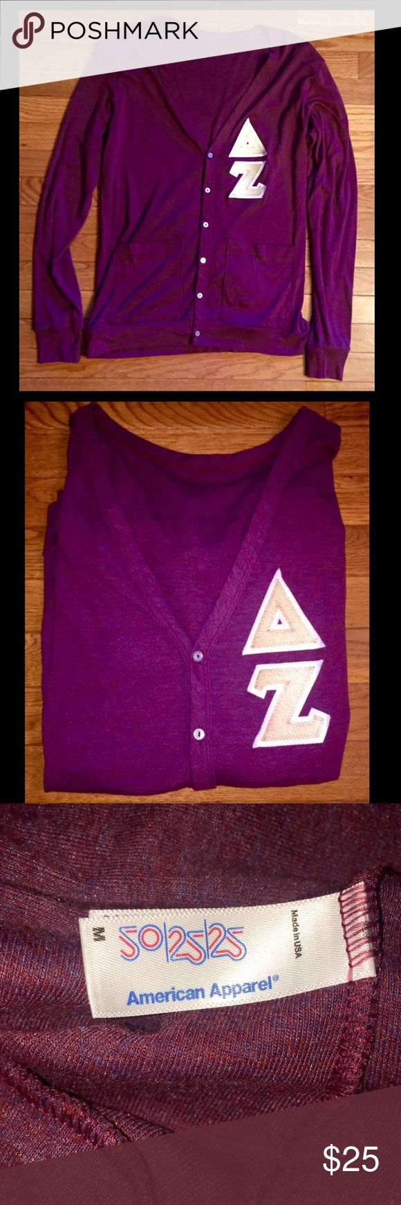 Delta Zeta American Apparel Cardigan!!! Beautiful American Apparel maroon button down cardigan with gold 3 inch Delta Zeta letters with a white border! Only worn 2 times and in excellent condition! Fabric is very soft and comfortable! 💗💚 American Apparel Sweaters Cardigans