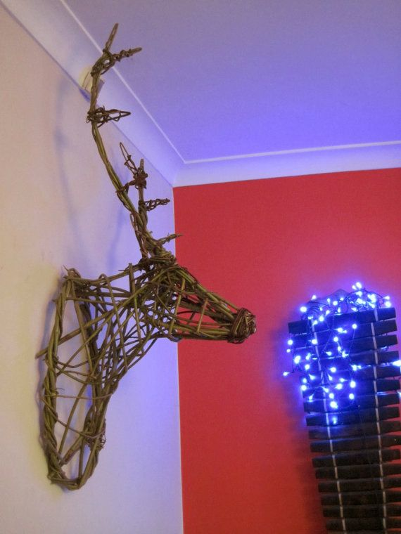 Get ready for Xmas, order now Stag deer head trophy organic English artisan by Naughty Magpie Willows.