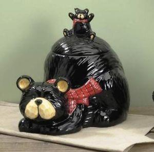 Bear Kitchen Decor | ... Black Bear Cookie Jar Northwoods Lodge Cabin Kitchen  Decor