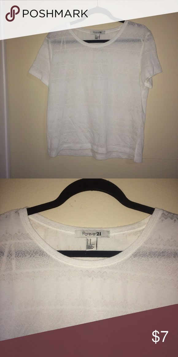 Forever 21 Sheer Crop Top Forever 21 • Crop Top • Sheer • Printed • White Forever 21 Tops Crop Tops