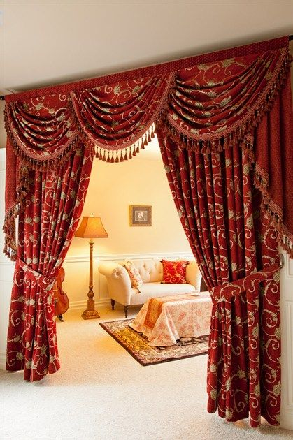 Best 25 red curtains ideas on pinterest red farmhouse for Red and gold drapes