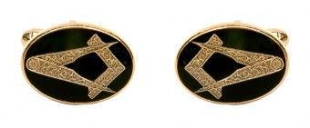 Masonic Oval Black Enamel Cufflinks - £25.99