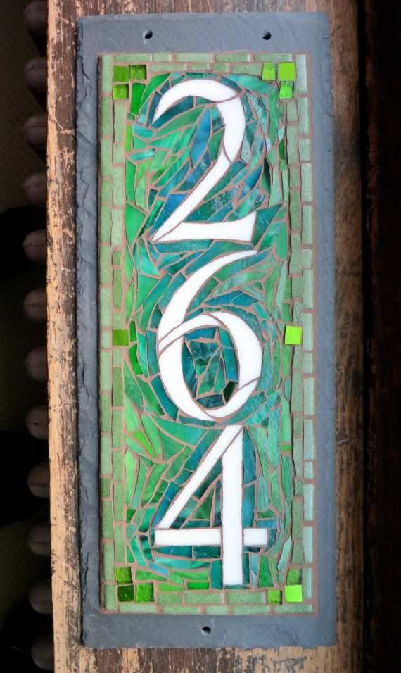 Isn't this green so inviting?  I think it's just lovely. Vertical Mosaic House Number on Slate 3 digit on by nutmegdesigns, $198.00
