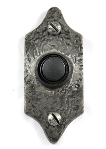 Louis Fraser 396 Bell Push - Pewter Finish - This Louis Fraser 396 Bell Push is small and discrete. The peweter finish on the bell push will highlight the texture of the metal perfectly.