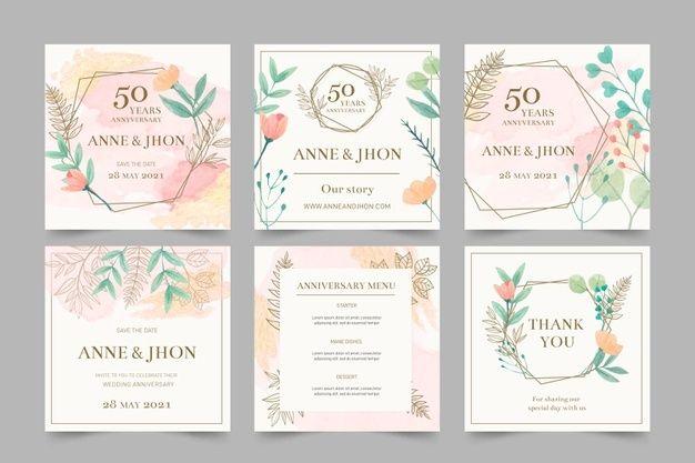 Wedding Anniversary Instagram Posts Wedding Anniversary Cards Floral Wedding Stationery Wedding Invitation Card Template
