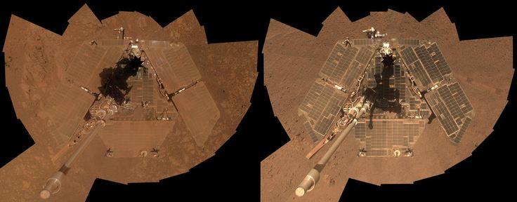 Cleaned Solar Arrays Gleam in Mars Rover's New Selfie