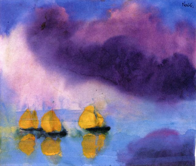 Emil Nolde (1867-1956) was a German painter and printmaker. He was one of the first Expressionists.  ~  Sea with Violet Clouds and Three Yellow Sailboats, 1946
