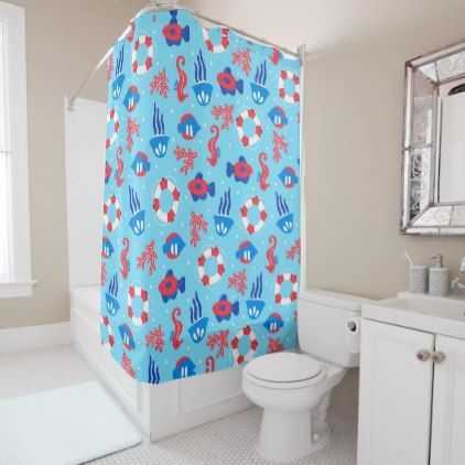 Summer Ocean Fun Shower Curtain - shower gifts diy customize creative
