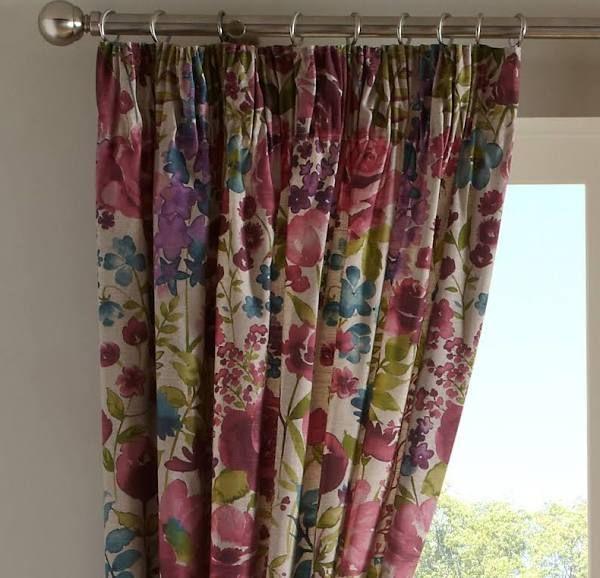 dark blue pencil pleat curtains