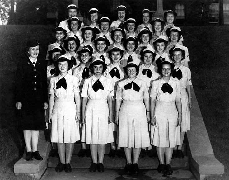 Graduating WAVES yeomen, Naval Training Center (Hunter College), Women's Reserve, the Bronx, New York City, United States, summer 1943.