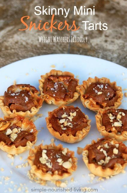 Snickers Mini Tarts, simple & delicious, 2 ingredients, Low Calories Dessert Recipes (83 calories), Weight Watchers Recipes with Points Plus (2 points+)