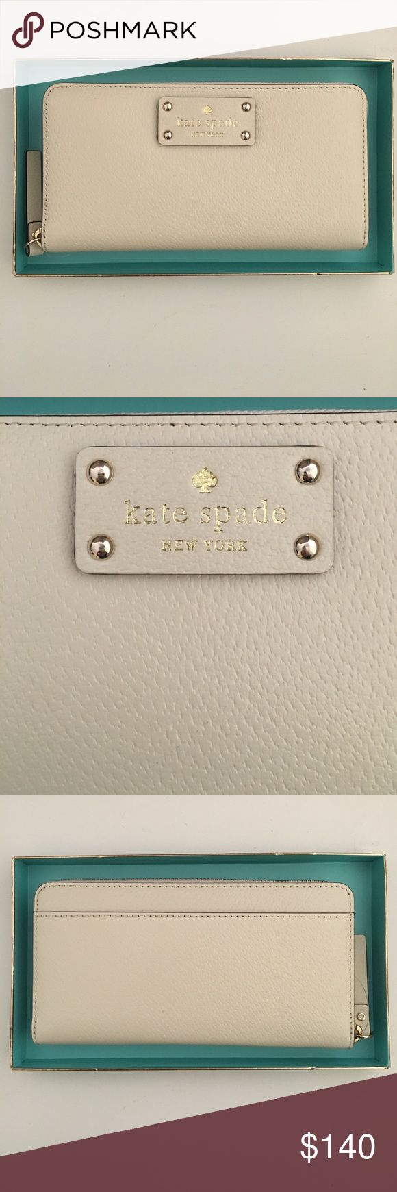 Kate Spade Neda Wallet Brand New. Leather. Comes with tags & box. Outside color is porcelain, inside compartments are made of nude leather & pink Kate Spade print fabric. No trades. Will consider offers. kate spade Bags Wallets