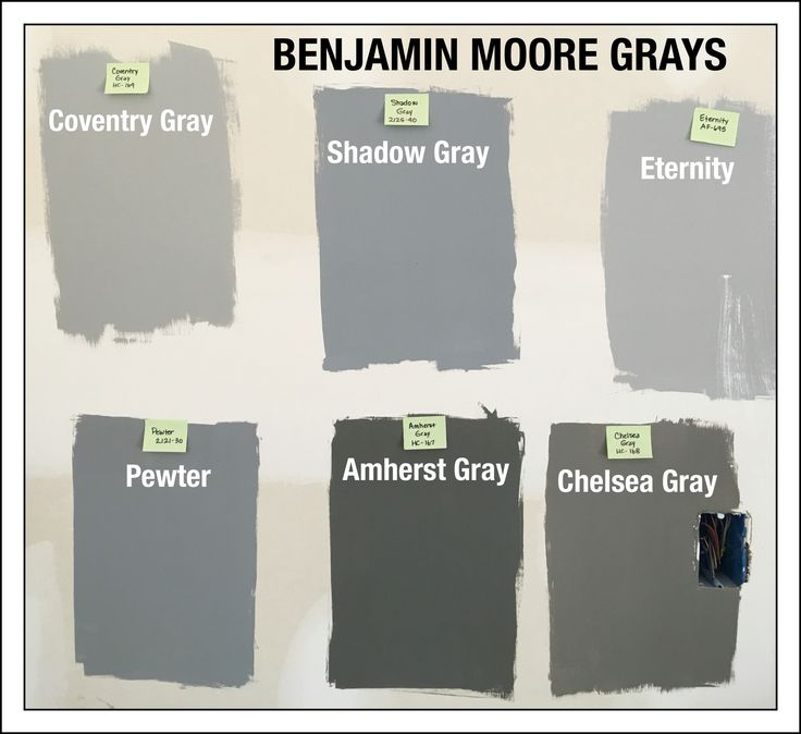 Benjamin Moore Gray Paint Swatches. Coventry Gray HC-169. Shadow Gray 2125-40. Eternity AF-695. Pewter 2121-30. Amherst Gray HC-167. Chelsea Gray HC-168. Natural sunlight (light coming from Windows to the right), 1 pm.