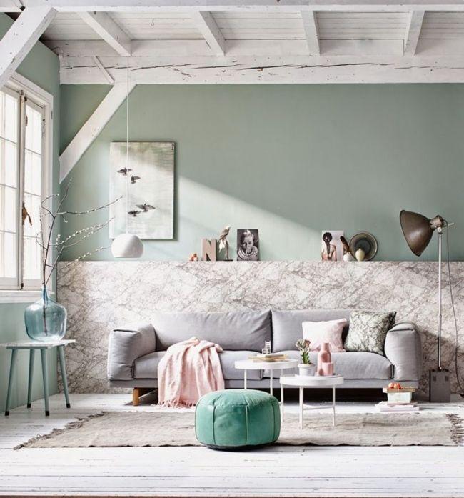 Salon vert de gris et marbre via Vtwonen