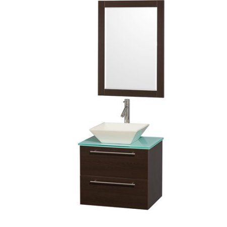 Wyndham Collection Amare 24 inch Single Bathroom Vanity in Espresso with Green Glass Top with Bone Porcelain Sink, and 24 inch Mirror