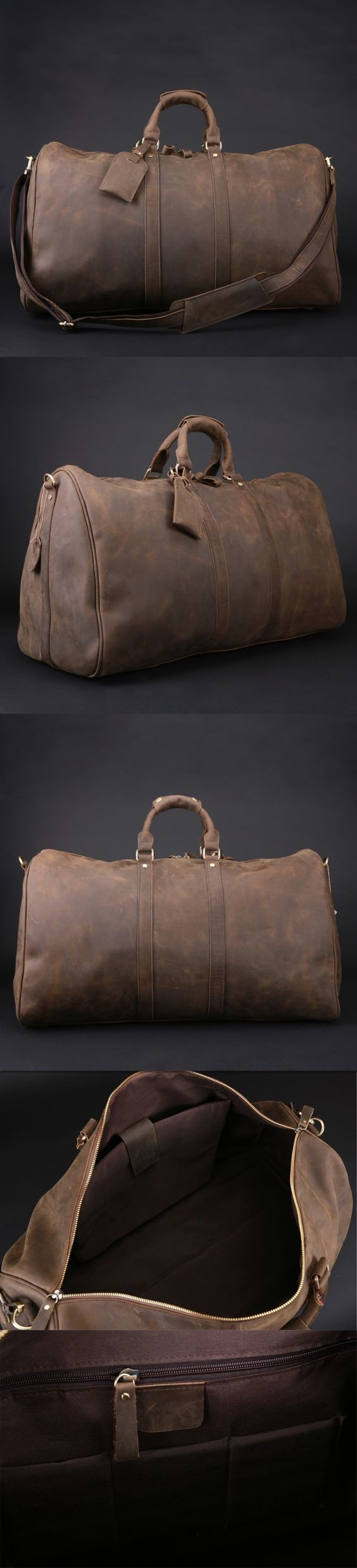 Men's Vintage Leather Travel Bag / Luggage / Duffle Bag / Sport Bag Gym Bag / Weekend Bag