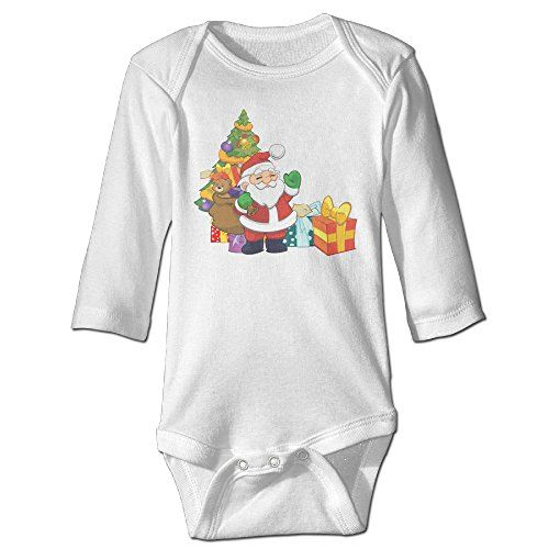 Christmas Santa Claus Infants Cotton Long Sleeves Climbing Clothes 6 M White ** Details can be found by clicking on the image.
